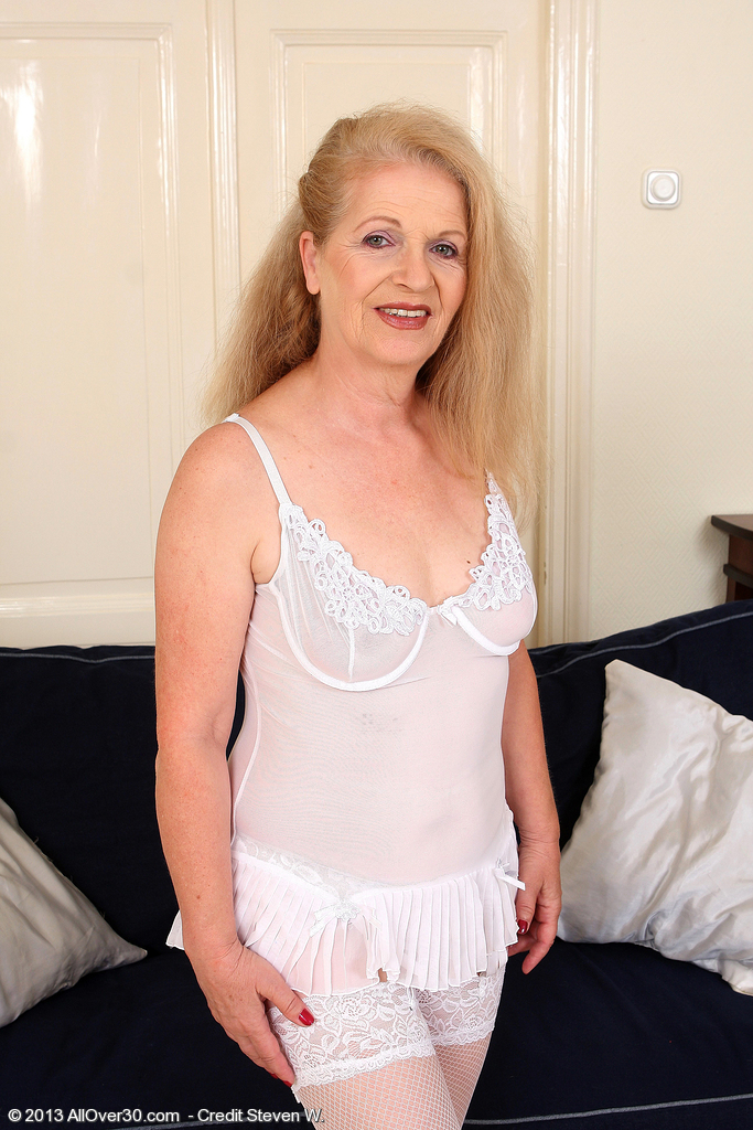 62 Year Old Gilf Nelli from  Onlyover30 Glides out of Her White Underwear