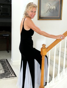54 Year Old Sabrina from  Onlyover30 Glides out of Her Elegant Dress