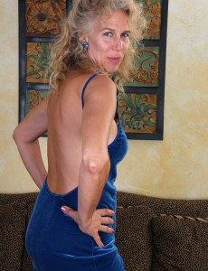 Super Wild and Elegant 54 Year Old Sabrina P Slide out of Her Blue Dress