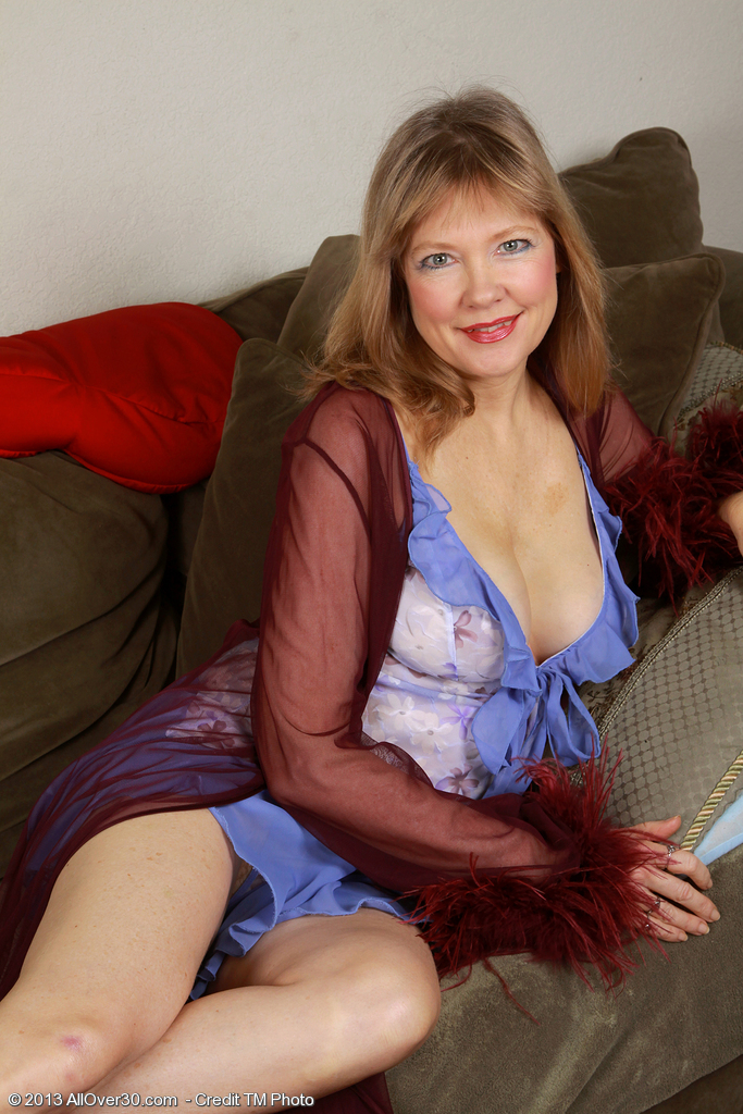 Super Horny  Blond 52 Year Old Lilli Looking Hot As Hell in Her Slinky Blue Lace