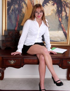 Adorable and  Older Secretary Takes a Coffee Break to Spread Her Gams
