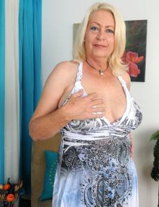 Insatiable 60 Year Old Angelique from  Onlyover30 Tugs at Her  Older Babe Box