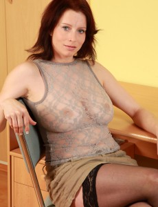 Redheaded and Breasty  Older Carol from Toying Her Hefty Pussy