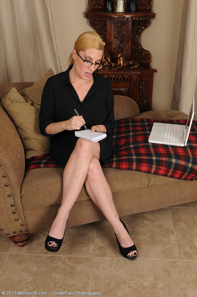 Hot  Blond 40 Year Old Secretary Jennifer Greatest Opening Up Her Little Slit