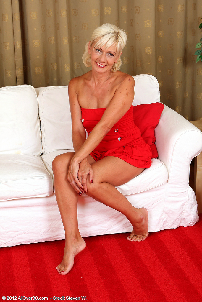 54 Year Old Houswife Katie Hood Looking Elegant in Her  Hot Red Dress
