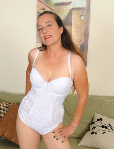 Long Haired  Wife Nicola from  Onlyover30 Slides off Her White Underwear