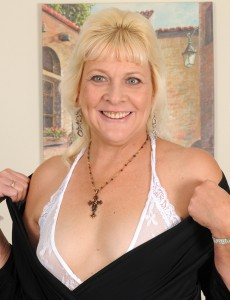 52 Year Old  Wifey Sindy Silver Glides off Her Gorgeous White Underware