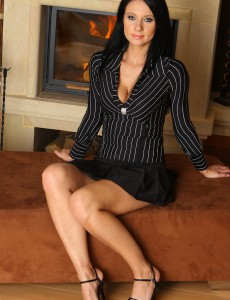 Gorgeous and Elegant Enza from  Onlyover30  Undresses and  Opens Her Long Gams