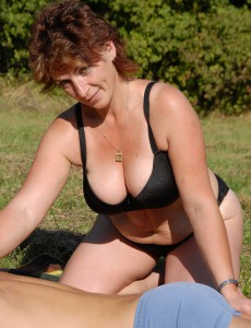 Big Breasted 42 Year Old Misti Acquires Her  Older Babe Pussy Plugged Outdoors