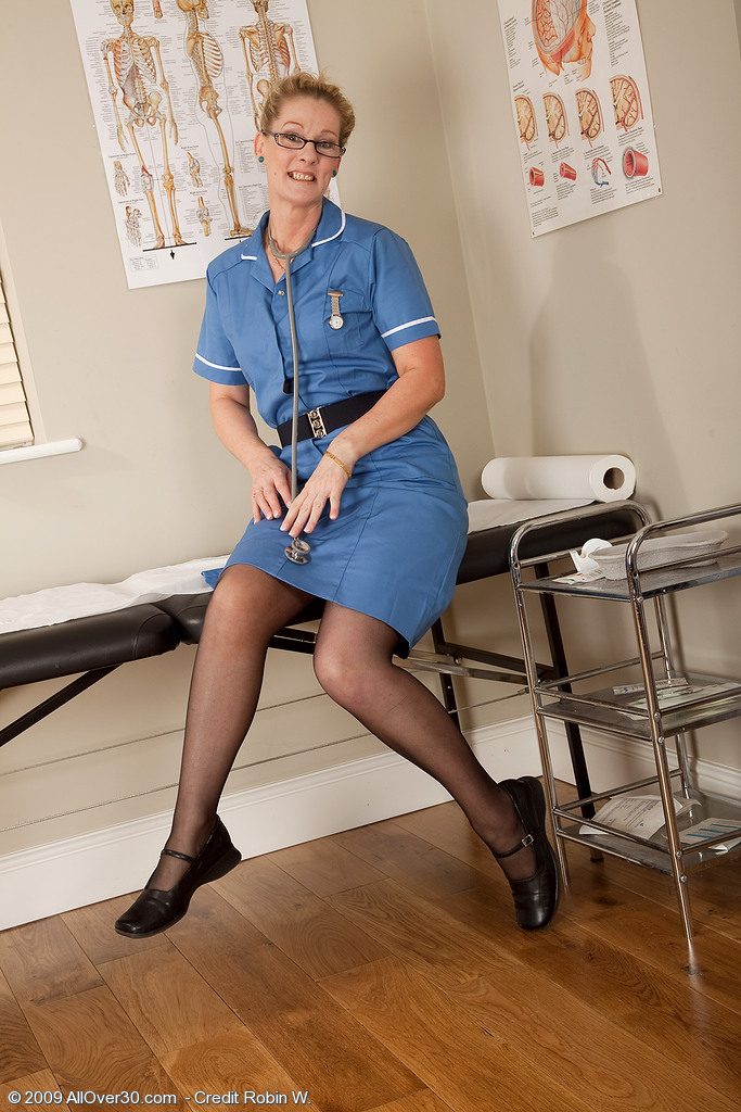 Hot  Blond Haired Nurse from  Onlyover30 Gives Herself a Permeating Physical