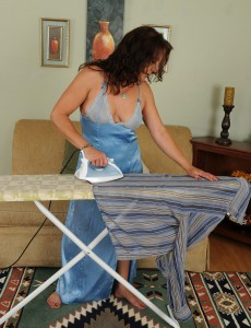 Spectacular 43 Year Old  Brown Haired Chane Takes a Break from Her Chores