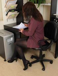 At 43 Years Old  Super Horny Chane Can't Keep Her Gams Together at Her Desk