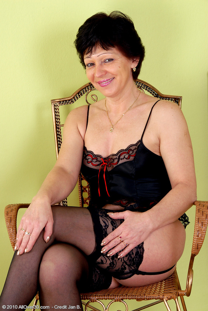 Furry Pussied Eva D from  Onlyover30 in  Hot Black Panties