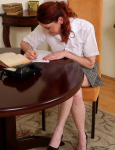 45 Year Old Secretary Demonstrating Her Hairy Warm Pussy After Taking Notes