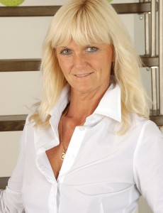 Blond Milf Jenny F from  Onlyover30  Takes off and  Opens on the Stairs