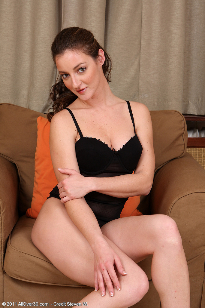 Curvaceous  Cougar Judith Glides off Her Darksome Knickers to Disclose Curly Pussy