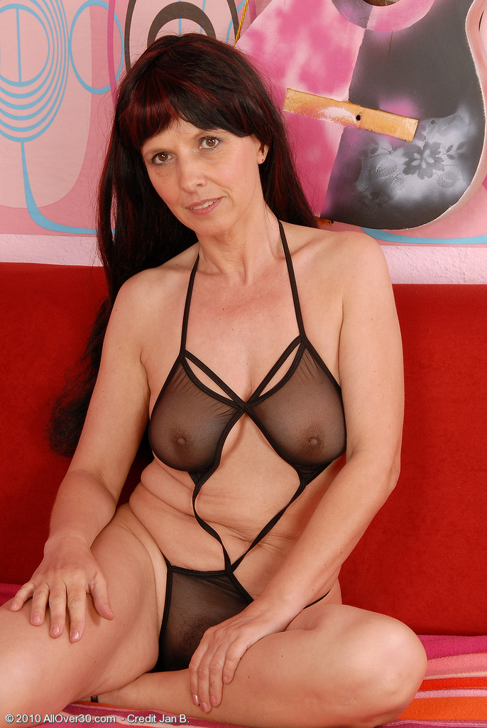49 Year Old Juliette Steals the Show in Her Sexy Dark Lingeries