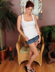 Taut Bodied 32 Year Old Lya Pink Slips out of Her Hot Jeans Cut-offs