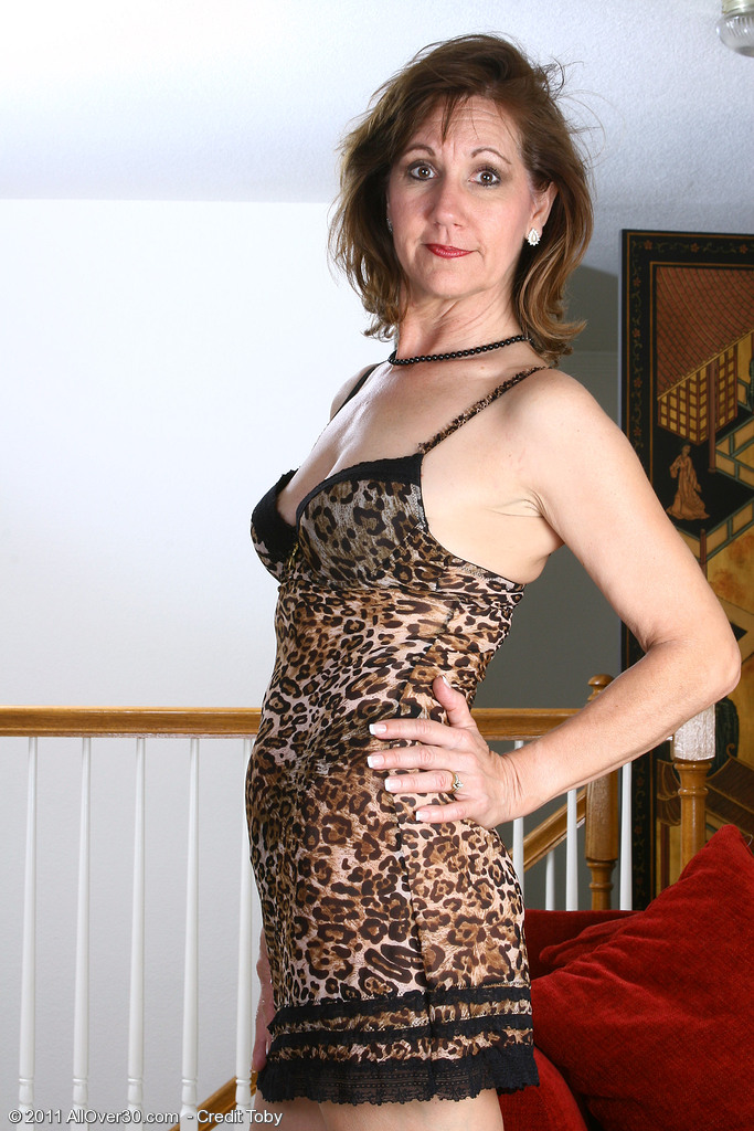 Done Up in Lace 51 Year Old Lynn Stretches Her Gams Wide for the Camera
