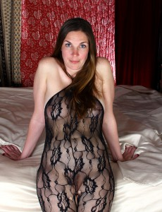 Remarkable Dark Brown  Cougar Phoebe in a Dark Fishnet Body-suit Shows Ass