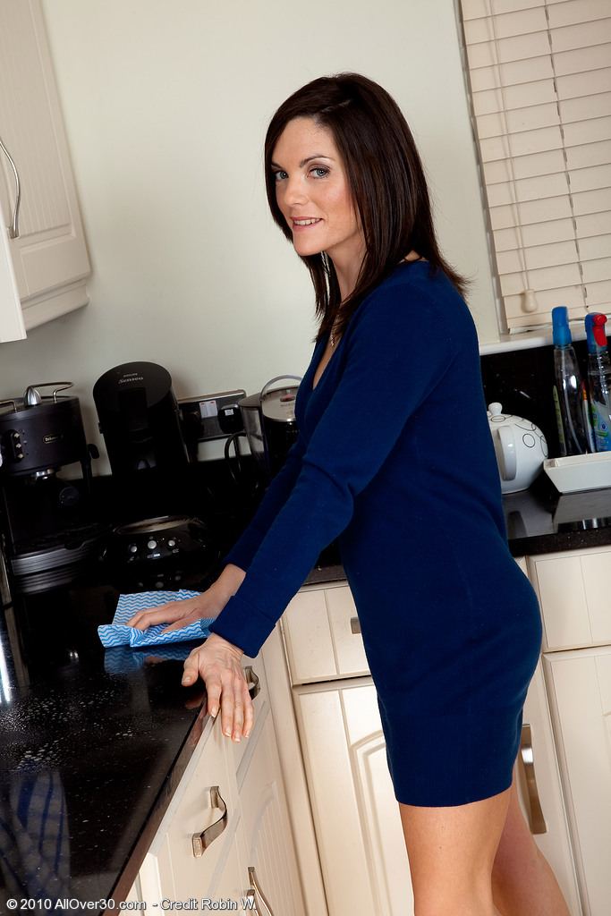 After Cleaning the Kitchen Rebekah Enjoys to Show off Her Tidy Slit