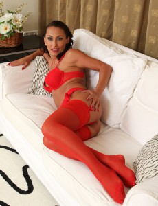Sexy 36 Year Old Sandy K Slides out of Her Hawt Red Undies in Here