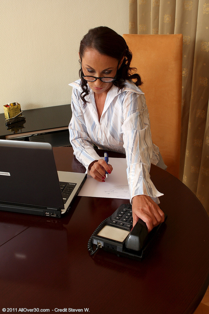 Office Milf Sandy K from  Onlyover30 Demonstrating Great Interest in Work