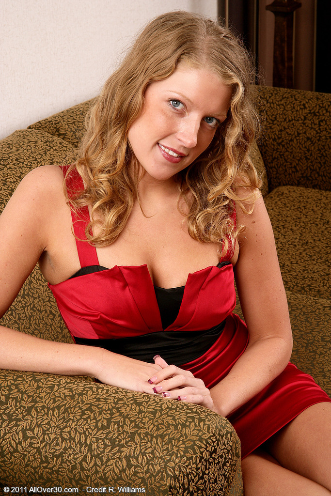 Thirty Year Old Sara C from  Onlyover30 Slips out of Her Elegant Red Dress