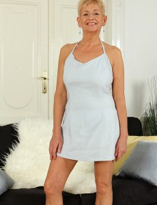 57 Year Old Scarlette J Slips off Her Elegant White Dress and  Opens