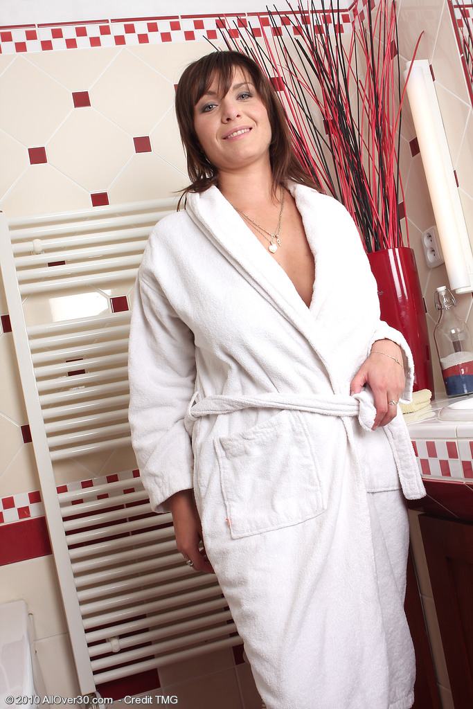 Hot Sphia M from  Onlyover30 Creams Her Large Hooters After Her Washroom