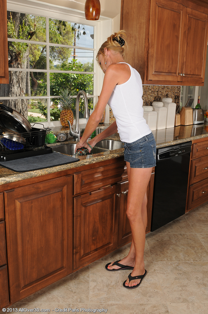 Blond  Wifey Stacey Y Spills Down Her  Hoo Ha at the Kitchen Sink