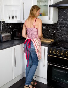 33 Year Old  Wife Tara Trinity Slides off Her Jeans Denim in the Kitchen