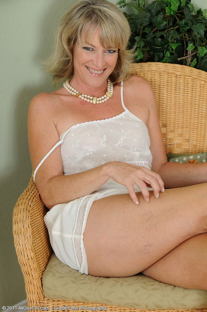 Sexy  Blond Tina from  Onlyover30 Comebacks Again in Sexy White Underware