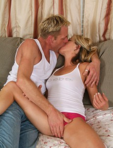 44 Year Old Blond Trinket Munches and Fucks Junior Cock in Here