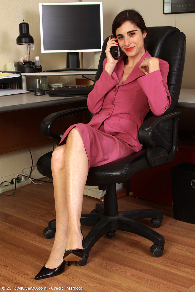 33 Year Old Office Assistant Abbey Stretching Wide in Her Office Chair
