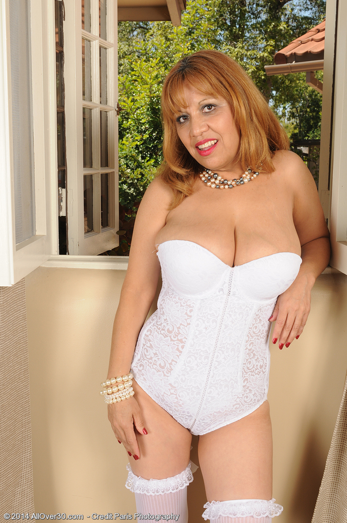47 Year Old Marissa Pops Her Giant Bra-stuffers out of Her White Underware