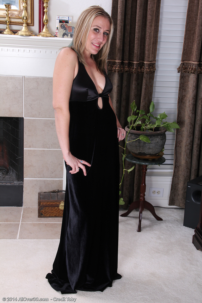 33 Year Old Opportunity from  Onlyover30 Slides out of Her Elegant Black Dress