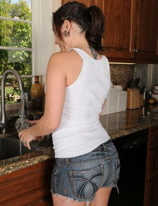 30 Year Old Sinn Sage Receives Her Tshirt and Cookie Soaked in the Kitchen