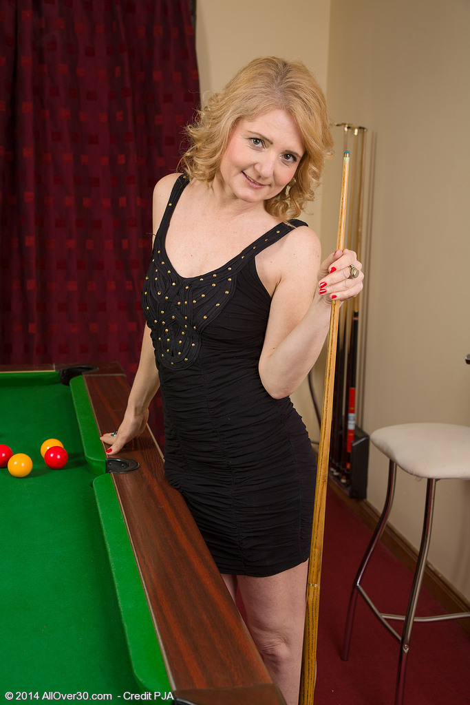 Sexy 45 Year Old  Blond Haired Isabelle B Getting in Nature's Garb Found on the Pool Table