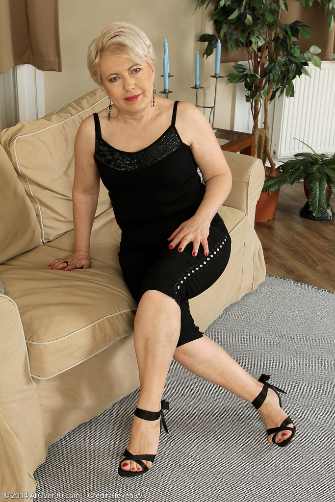 58 Year Old Mimi Gliding off Her Evening Dress Plus Opening Her Gams