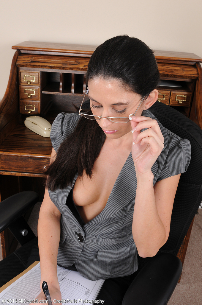 32 Year Old Office Milf Mikki Daniels Widening Wide at Her Desk