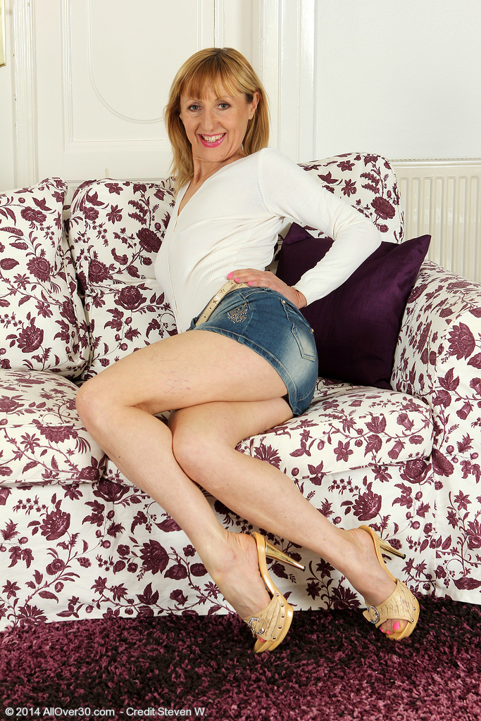 49 Year Old  Blond Tina M from  Onlyover30 Slides off Her Jeans Petticoat