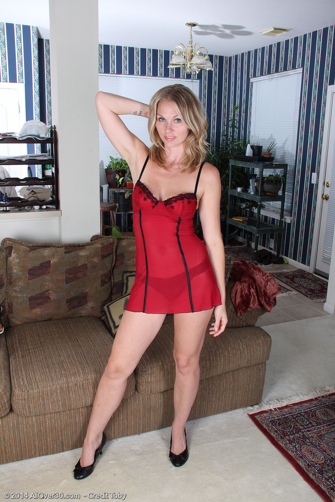 30 Year-old  Wifey Lara Elaine Slides from Constricted Red Thong Here