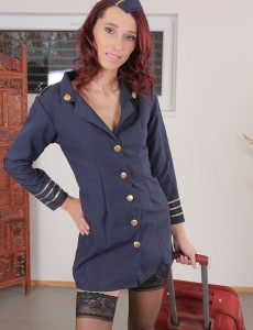37 Year Old Breanne Plays Stewardess and Sluggishly Undresses for You