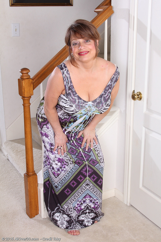 48 Year Old Penny Pussies Sticks Her Large Boobs into the Stair Railings