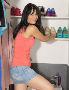 Brunette Hair  Wife Gracia Saluda Slides off Her Jeans Petticoat and Stretches