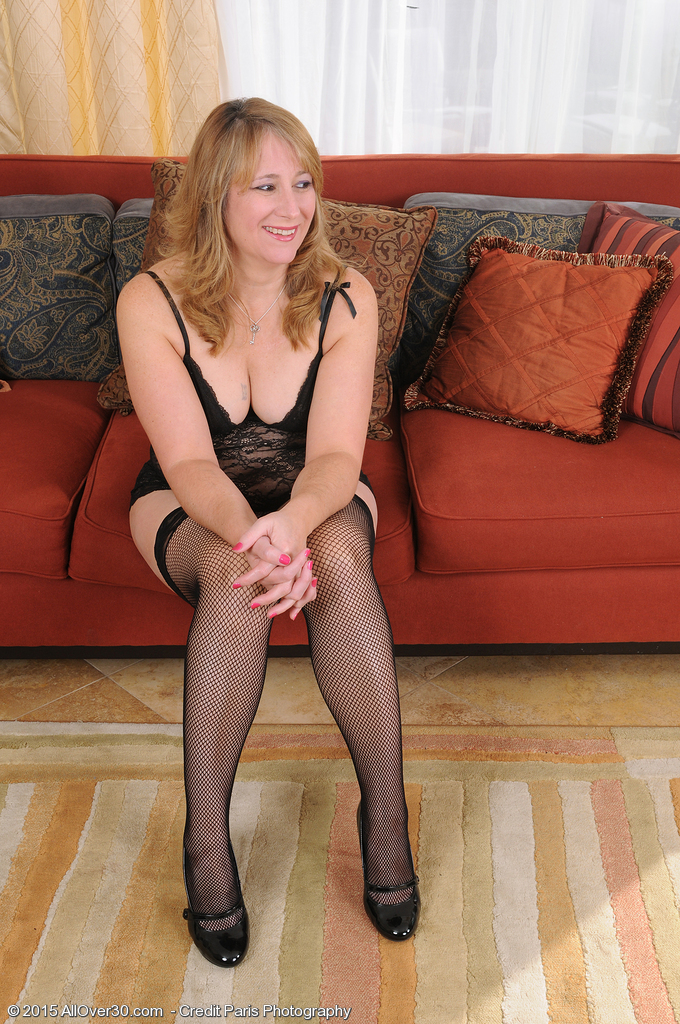Lounging in Hip High Black Nylons with Wonderful Catrina Costa