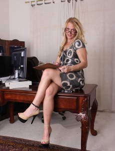Blond Secretary Jackie Remains Late at the Office to Strip and Play