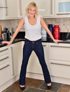 Breasty Blond Molly Maracas Slides out of Her Denim and Flashes in the Kitchen