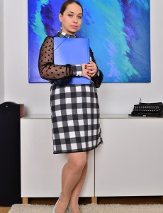 Beautiful Secretary Olga Cabaeva Makes Some Copies and then Undresses Down Bare